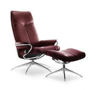 Sessel CITY High Back mit Hocker Leder Batick burgundy Starbase Gestell chrom Stressless