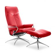 Sessel CITY High Back mit Hocker Leder Batick chilli red Starbase Gestell chrom Stressless