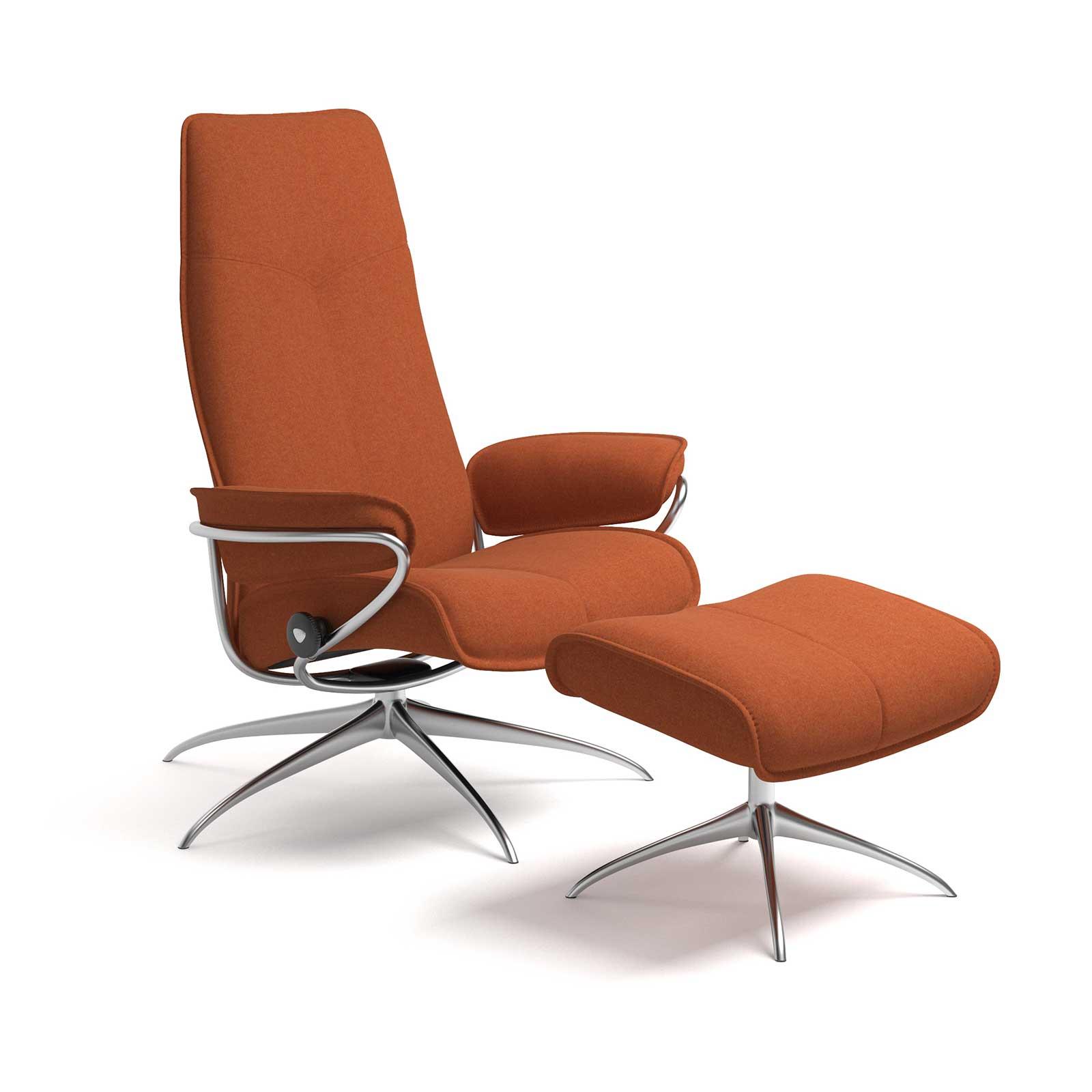 stressless city high back calido orange gestell chrom mit hocker. Black Bedroom Furniture Sets. Home Design Ideas