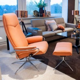 Sessel CITY High Back mit Hocker Stoff Calido orange Starbase Gestell chrom Stressless