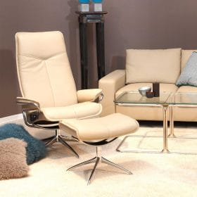 Sessel CITY High Back mit Hocker Leder Cori beige Starbase Gestell chrom Stressless