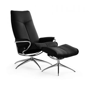 Sessel CITY High Back mit Hocker Leder Paloma black Starbase Gestell chrom Stressless
