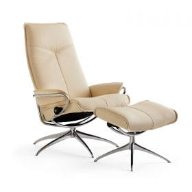Sessel CITY High Back mit Hocker Leder Paloma vanilla Starbase Gestell chrom Stressless