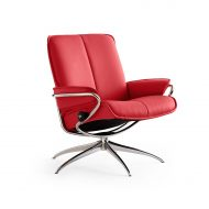 Sessel CITY Low Back Leder Batick chilli red Starbase Gestell chrom Stressless
