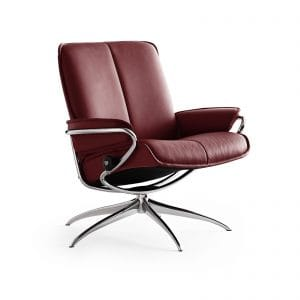 Sessel CITY Low Back Leder Paloma cherry Starbase Gestell chrom Stressless