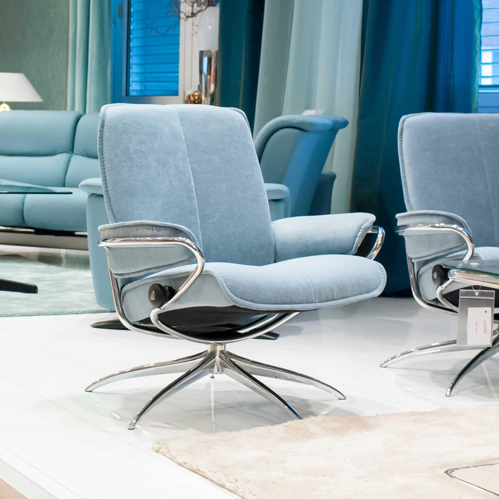 stressless sessel city low back aqua chrom stressless. Black Bedroom Furniture Sets. Home Design Ideas
