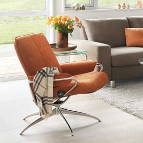 Sessel CITY Low Back Home Office Stoff Verona orange Starbase Gestell chrom Stressless