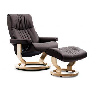 Sessel CROWN Classic mit Hocker Leder Cori brown Gestell natur Stressless