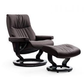 Sessel CROWN Classic mit Hocker Leder Cori brown Gestell schwarz Stressless