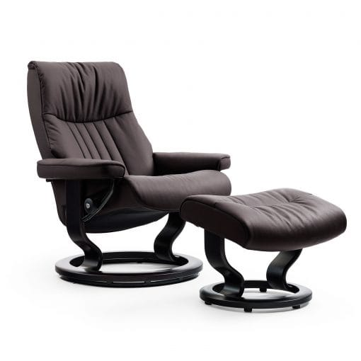 stressless sessel crown cori braun classic schwarz hocker. Black Bedroom Furniture Sets. Home Design Ideas