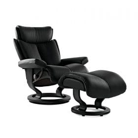 Sessel MAGIC Classic mit Hocker Leder Paloma black Gestell schwarz Stressless