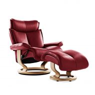 Sessel MAGIC Classic mit Hocker Leder Paloma cherry Gestell natur Stressless