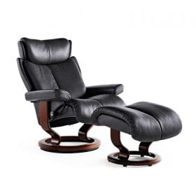 Sessel MAGIC Classic mit Hocker Leder Paloma rock Gestell braun Stressless