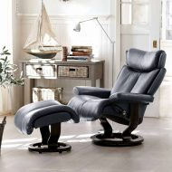 Sessel MAGIC Classic mit Hocker Leder Paloma rock Gestell schwarz Stressless