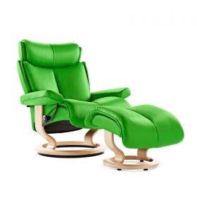 Sessel MAGIC Classic mit Hocker Leder Paloma summer green Gestell natur Stressless
