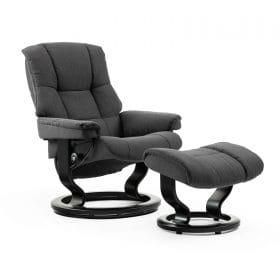 Sessel MAYFAIR Classic mit Hocker Stoff Crocus charcoal Gestell schwarz Stressless