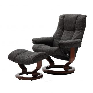 Sessel MAYFAIR Classic mit Hocker Stoff Karma grey Gestell braun Stressless