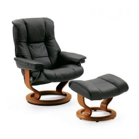 Sessel MAYFAIR Classic mit Hocker Leder Paloma black Gestell braun Stressless