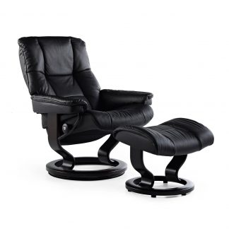 Sessel MAYFAIR Classic mit Hocker Leder Paloma black Gestell schwarz Stressless
