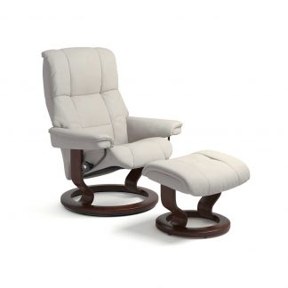Sessel MAYFAIR Classic mit Hocker Leder Paloma light grey Gestell braun Stressless