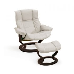 Sessel MAYFAIR Classic mit Hocker Leder Paloma light grey Gestell wenge Stressless