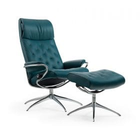 Sessel METRO High Back mit Hocker Leder Cori petrol Starbase Gestell chrom Stressless