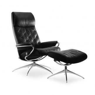 Sessel METRO High Back mit Hocker Leder Paloma black Starbase Gestell chrom Stressless