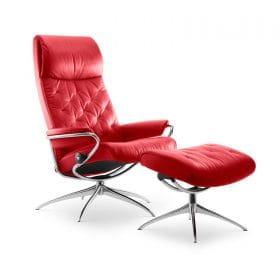 Sessel METRO High Back mit Hocker Leder Paloma tomato Starbase Gestell chrom Stressless