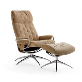 Sessel METRO High Back mit Hocker Stoff Verona camel Starbase Gestell chrom Stressless