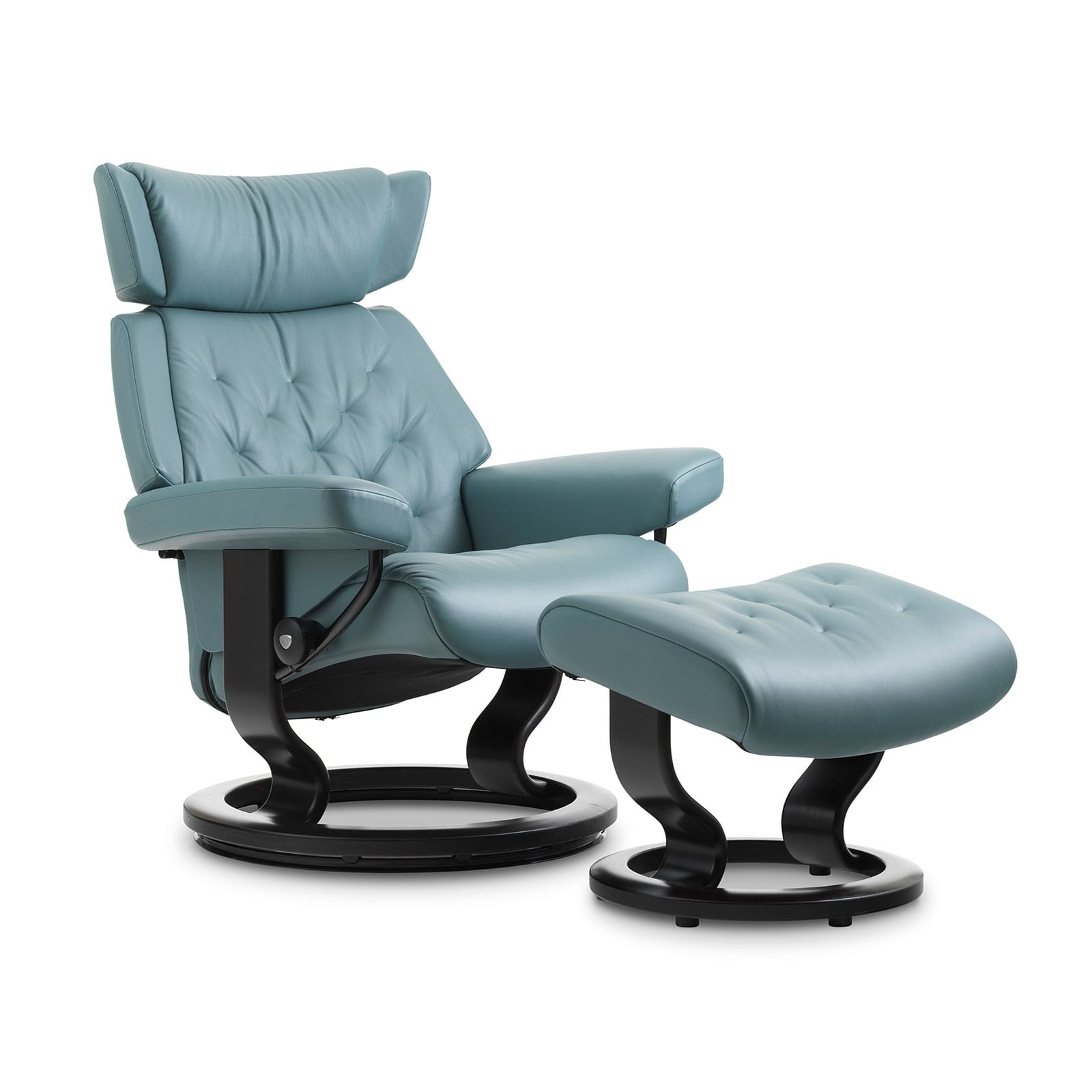 Stressless Sessel Skyline Paloma Aqua Green Classic Schwarz Hocker
