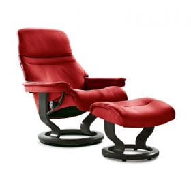 Sessel SUNRISE Classic mit Hocker Leder Batick chilli red Gestell schwarz Stressless