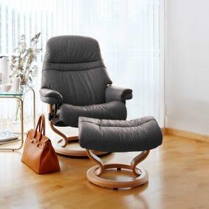 Stressless SUNRISE Sessel in Paloma Leder - Farbe rock und dem Classic Untergestell in der Farbe natur