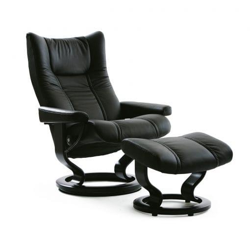 Stressless sessel wing batick black mit hocker stressless for Sessel mit hocker schwarz