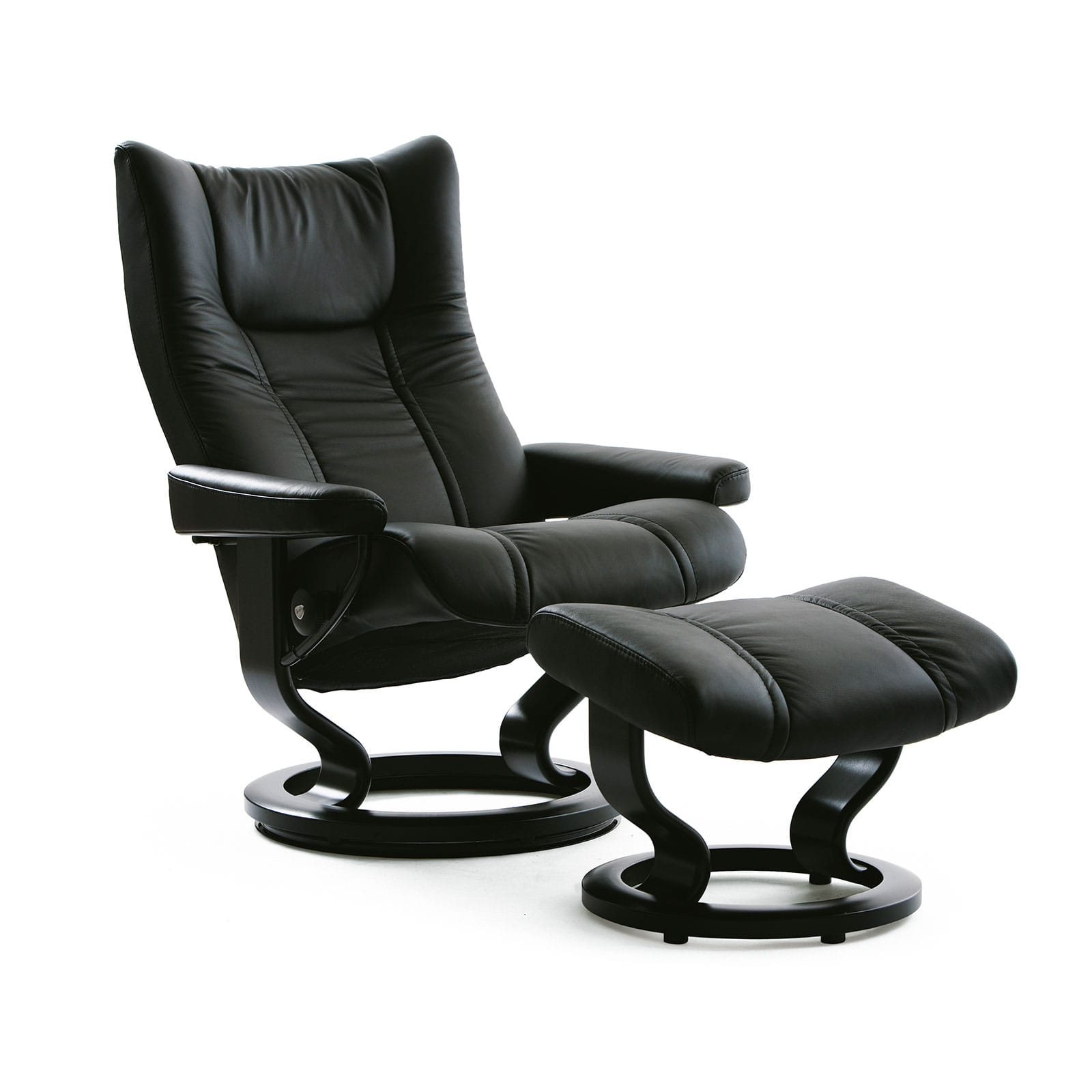 stressless sessel wing batick black mit hocker stressless. Black Bedroom Furniture Sets. Home Design Ideas