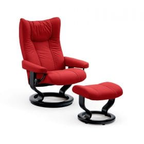 Sessel WING Classic mit Hocker Leder Batick chilli red Gestell schwarz Stressless