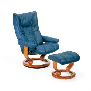 Sessel WING Classic mit Hocker Leder Paloma oxford blue Gestell teak Stressless