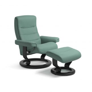 Sessel NORDIC Classic mit Hocker Leder Paloma aqua green Gestell schwarz Stressless