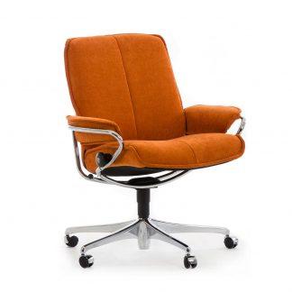 Sessel CITY Low Back Home Office Stoff Calido orange Starbase Gestell chrom mit Rollen Stressless