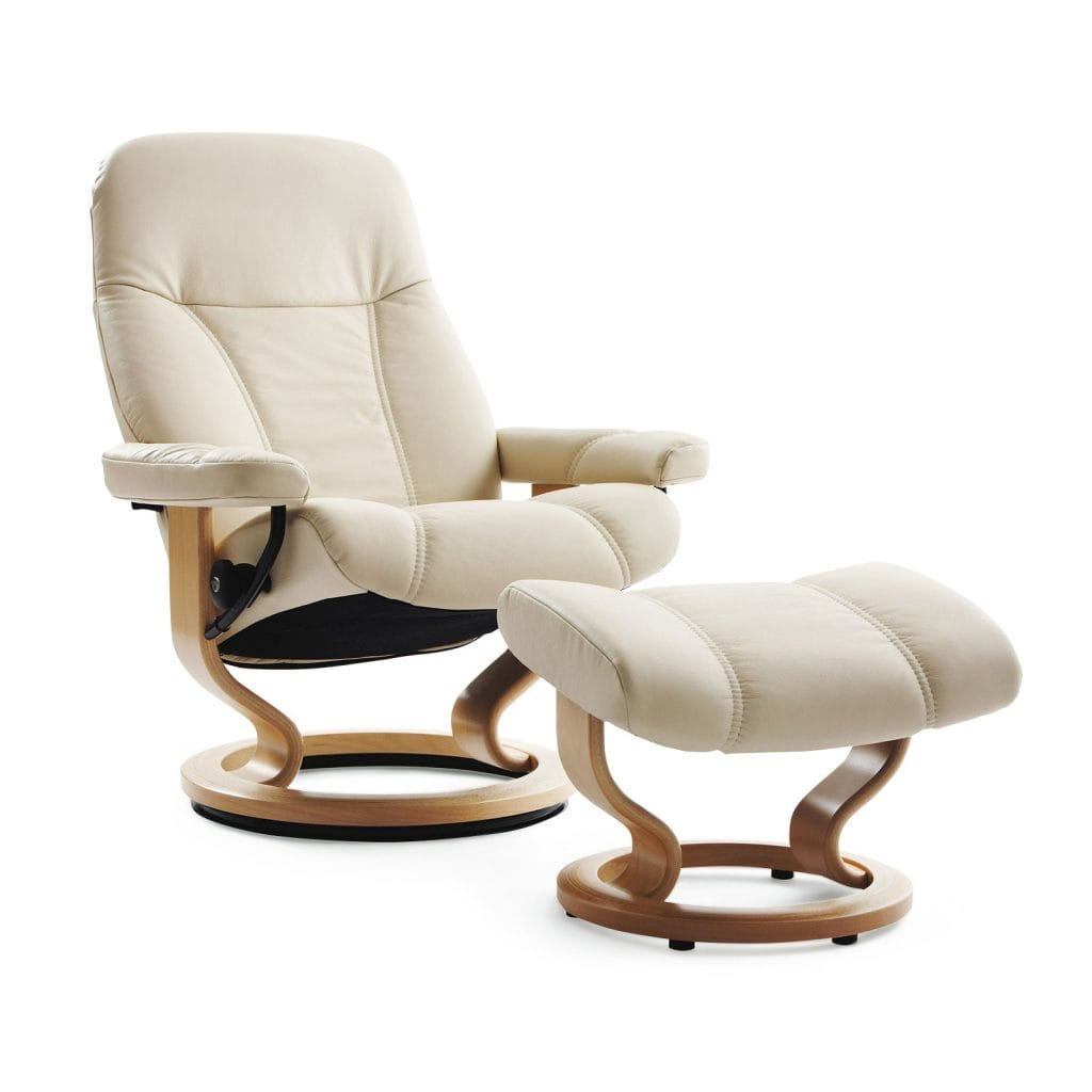 relaxsessel stressless consul batick cream untergestell natur mit hocker house of comfort. Black Bedroom Furniture Sets. Home Design Ideas
