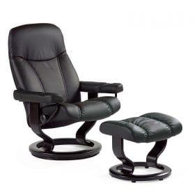 Sessel CONSUL Classic mit Hocker Leder Batick schwarz Gestell schwarz Stressless