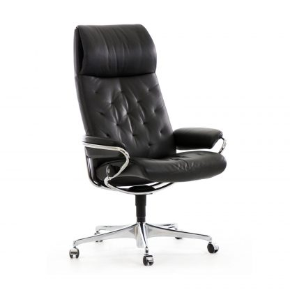 Sessel METRO High Back Home Office Leder Paloma black Starbase Gestell chrom mit Rollen Stressless
