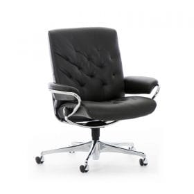 Sessel METRO Low Back Home Office Leder Paloma black Starbase Gestell chrom mit Rollen Stressless