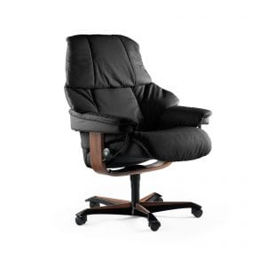 Sessel RENO Home Office Leder Paloma black Gestell teak mit Rollen Stressless