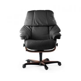 Sessel RENO Home Office Leder Paloma rock Gestell teak mit Rollen Stressless