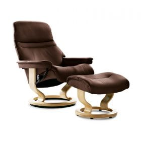 Sessel SUNRISE Classic mit Hocker Leder Batick brown Gestell natur Stressless