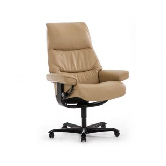 Sessel VIEW Home Office Leder Cori beige Gestell braun mit Rollen Stressless