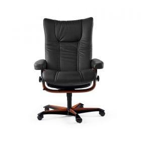 Stressless Sessel WING mit Lederbezug Paloma black und Home Office braun mit Rollen