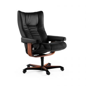 Sessel WING Home Office Paloma black Gestell braun mit Rollen Stressless