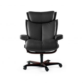 Sessel MAGIC Home Office Leder Paloma rock Gestell braun mit Rollen Stressless
