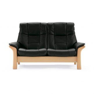 Sofa BUCKINGHAM hoch 2-Sitzer Leder Paloma black Gestell natur Stressless